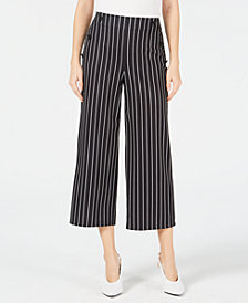 Maison Jules Striped Wide-Leg Cropped Pants, Created for Macy's