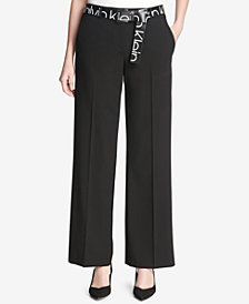 Calvin Klein Logo Belt Wide-Leg Pants