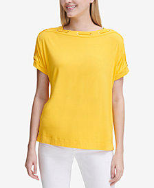 Calvin Klein Lace-Neckline Short-Sleeve Top