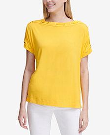 Calvin Klein Lace-Neckline Short-Sleeve Top