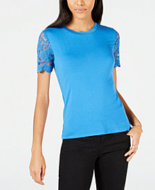 Maison Jules Lace-Sleeve Top, Created for Macy's