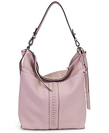 T Tahari Skyler Leather Whipstitch Bucket Bag