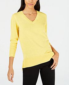 Maison Jules V-Neck Tunic Sweater, Created for Macy's