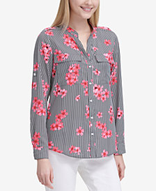 Calvin Klein Striped Floral-Print Shirt