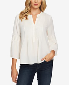 CeCe Ruffled Pintuck Blouse