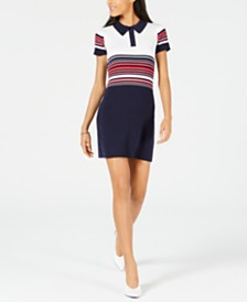 Maison Jules Striped Polo Sweater Dress, Created for Macy's
