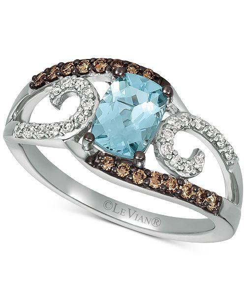 Le Vian Aquamarine (3/4 ct. t.w.) & Diamond (1/4 ct. t.w.) Ring in 14k White Gold