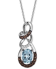 "Multi-Gemstone (1-1/10 ct. t.w.) & Diamond Accent Swirl 18"" Pendant Necklace in 14k White Gold"