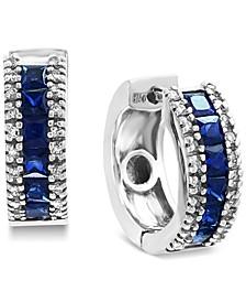 EFFY® Sapphire (1-5/8 ct. t.w.) & Diamond (1/6 ct. t.w.) Hoop Earrings in 14k White Gold