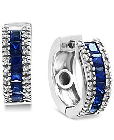 EFFY® Sapphire (1-5/8 ct. t.w.) & Diamond (1/6 ct. t.w.) Hoop Earrings in 14k White Gold
