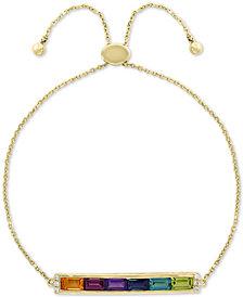 EFFY® Multi-Gemstone (1-3/4 ct. t.w.) & Diamond Accent Bolo Bracelet in 14k Gold