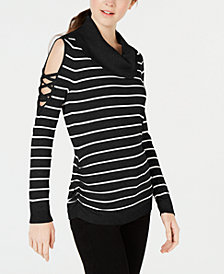 Hooked Up by IOT Juniors' Striped Cowlneck Cold-Shoulder Sweater