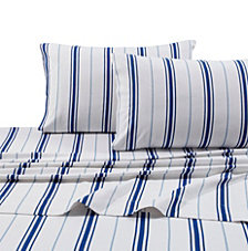 Tribeca Living Flannel 170-GSM Stripe Printed Extra Deep Pocket Cal King Sheet Set