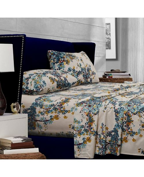 Tribeca Living Casablanca 300 Thread Count Floral Printed Extra Deep Pocket Queen Sheet Set