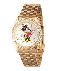Disney Minnie Mouse Women's Gold Alloy Glitz Watch