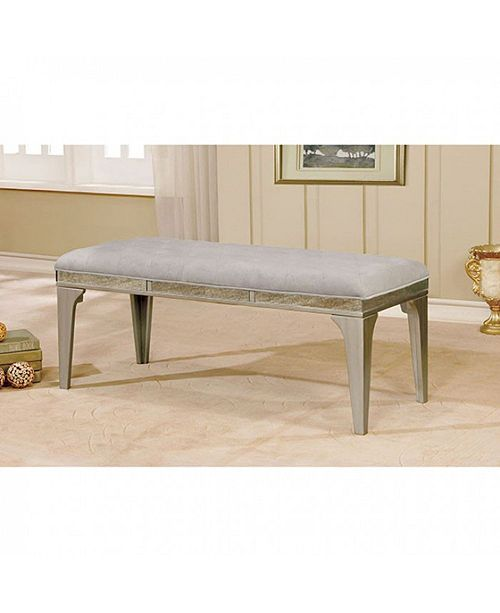 Benzara Wooden Bench With Comfy Cushioned Seat