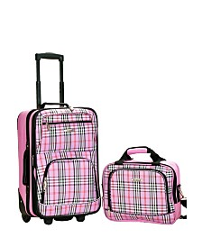 Rockland 2PCE Pink Plaid Softside Luggage Set