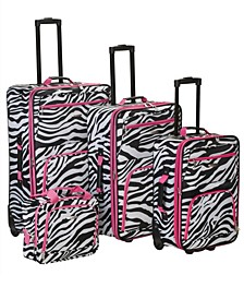 4PCE Pink Zebra Softside Luggage Set