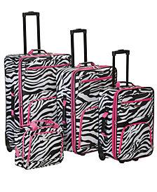 Rockland 4PCE Pink Zebra Softside Luggage Set