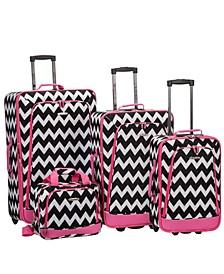 4PCE Pink Chevron Softside Luggage Set