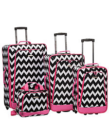 Rockland 4-Piece Pink Chevron Luggage Set