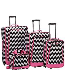Rockland 4PCE Pink Chevron Softside Luggage Set