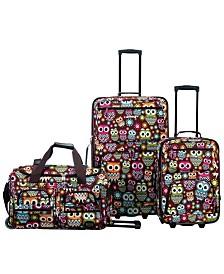 Rockland Owls 3PCE Softside Luggage Set