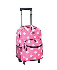 "Rockland Pink Dots 17"" Rolling Backpack"
