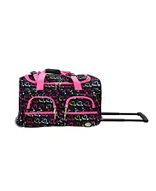 "Rockland Drawn Hearts 22"" Rolling Duffle Bag"