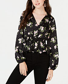 Bebop Juniors' Printed Smocked-Waist Satin Blouse
