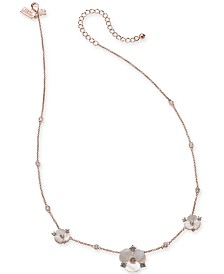"kate spade new york Rose Gold-Tone Crystal & Imitation Mother-of-Pearl Pansy Collar Necklace, 16"" + 3"" extender"
