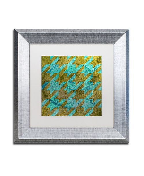 "Trademark Global Color Bakery 'Houndstooth V' Matted Framed Art, 11"" x 11"""