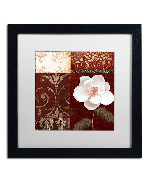 "Trademark Global Color Bakery 'Flores Blancas Iv' Matted Framed Art, 16"" x 16"""
