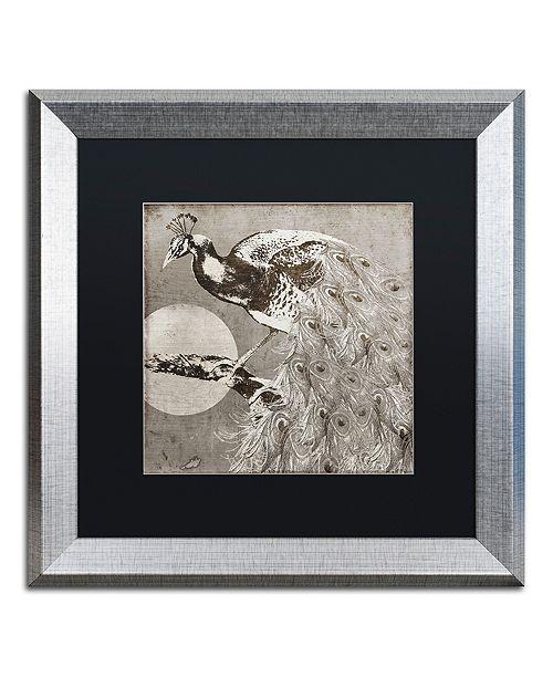 "Trademark Global Color Bakery 'Moon Peacock' Matted Framed Art, 16"" x 16"""