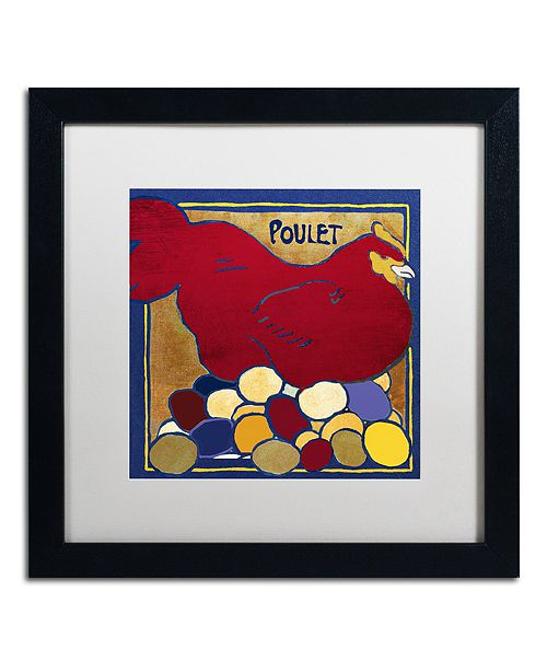 "Trademark Global Color Bakery 'Poulets Ii' Matted Framed Art, 16"" x 16"""