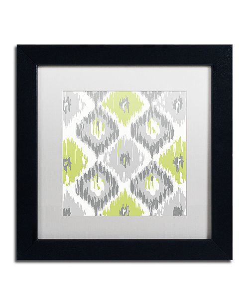 "Trademark Global Color Bakery 'Calyx Ikat' Matted Framed Art, 11"" x 11"""
