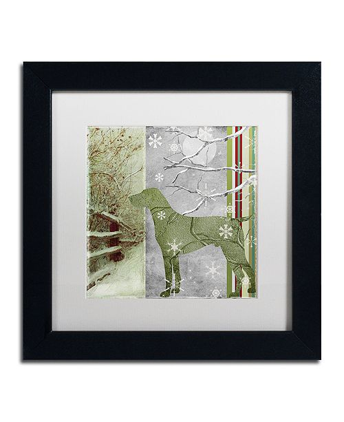 "Trademark Global Color Bakery 'Country Xmas Dog' Matted Framed Art, 11"" x 11"""
