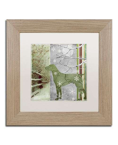 """Trademark Global Color Bakery 'Country Xmas Dog' Matted Framed Art, 11"""" x 11"""""""