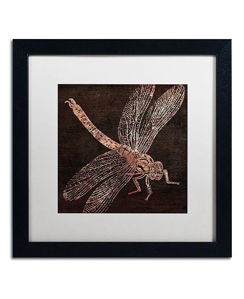 "Trademark Global Color Bakery 'Dragonfly' Matted Framed Art, 16"" x 16"""