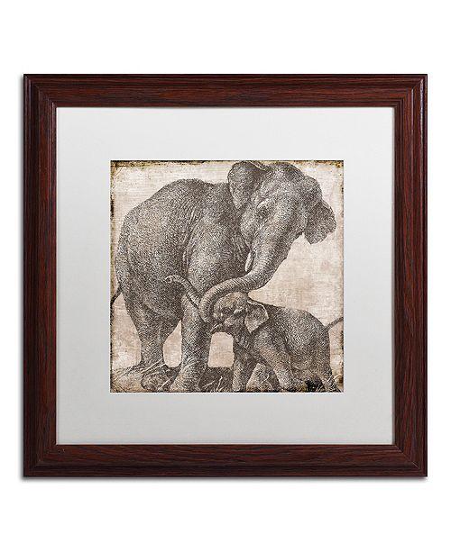 "Trademark Global Color Bakery 'Elephant 2' Matted Framed Art, 16"" x 16"""