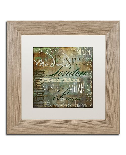 "Trademark Global Color Bakery 'Cities Of The World Iii' Matted Framed Art, 11"" x 11"""
