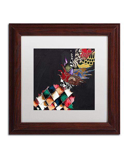 "Trademark Global Color Bakery 'Pineapple Brocade Ii' Matted Framed Art, 11"" x 11"""