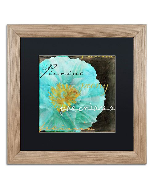 "Trademark Global Color Bakery 'Blue Peony Dark' Matted Framed Art, 16"" x 16"""