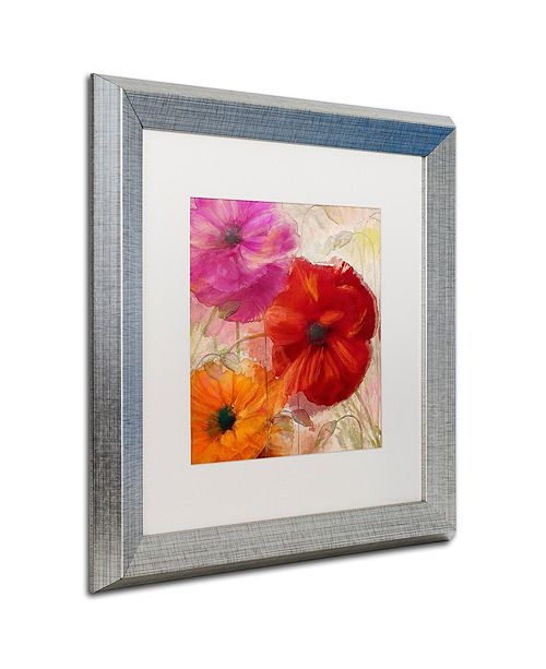"Trademark Global Color Bakery 'Penchant For Poppies I' Matted Framed Art, 16"" x 16"""