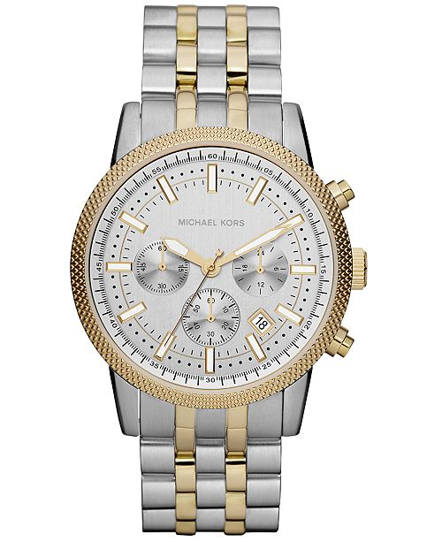 Michael Kors Men's Chronograph Scout Two Tone Stainless Steel Bracelet Watch 43mm MK8238