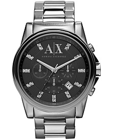 Watch, Men's Chronograph Stainless Steel Bracelet 45mm AX2092