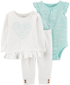 Carter's Baby Girls 3-Pc. Top, Bodysuit & Jogger Pants Set