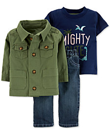 Carter's 3-Pc. Baby Boys Jacket, Mighty Cute-Print T-Shirt & Jeans Set