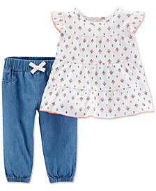 Carter's 2-Pc. Baby Girls Cotton Floral-Print Top & Chambray Pants Set