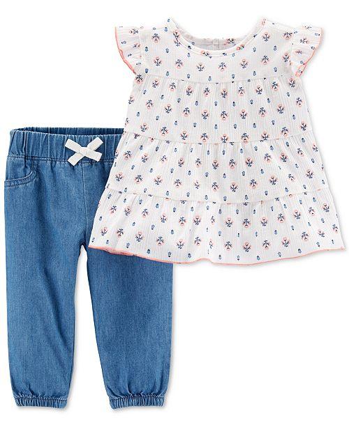 97019360e222 ... Pants Set; Carter's 2-Pc. Baby Girls Cotton Floral-Print Top & Chambray  ...